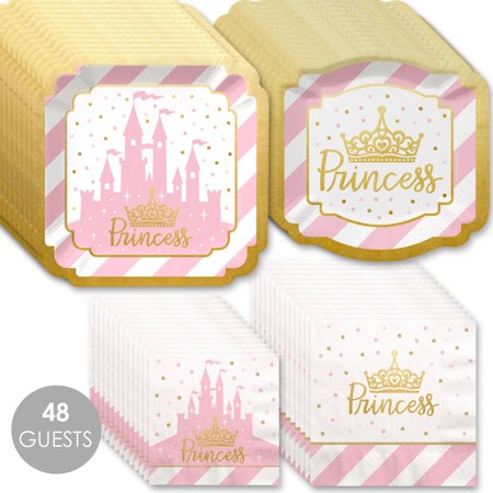 Little Princess Crown with Gold Foil - Pink and Gold Princess Baby Shower or Birthday Party Tableware Plates and Napkins (Princess Baby Shower)