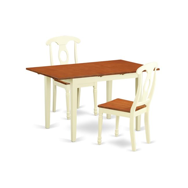 East West Furniture NOKE3 WHI W Table Set With 2 Dining Table U0026 2
