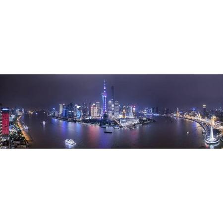 Pudong Skyline Across The Huangpu River Shanghai China Print Wall