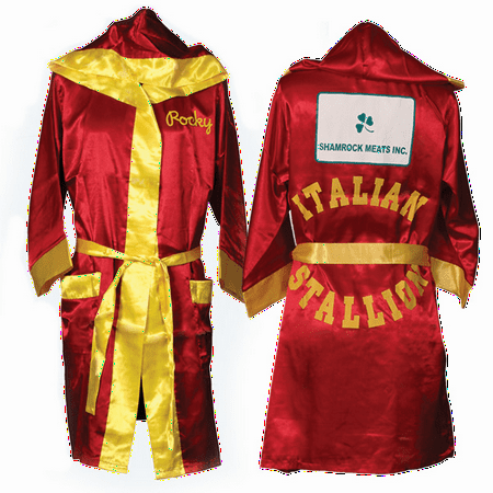 Rocky Balboa Accessories (Italian Stallion Rocky Robe Movie Shamrock Meats Hood Red Boxer Costume)