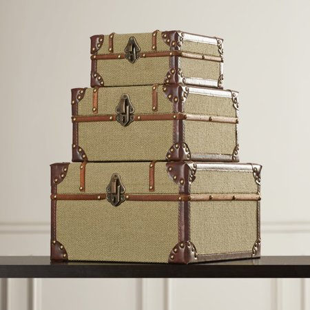 Darby Home Co 3 Piece Old Look Burlap Travel Trinket Box Set