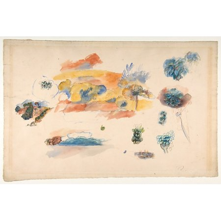 French Limoges Box - Studies of Landscape Trees and Exotic Fruit Poster Print by Auguste Renoir (French Limoges 1841–1919 Cagnes-sur-Mer) (18 x 24)