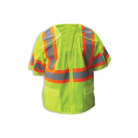 - Enguard LIME Poly Mesh Reflective Safety Vest, 5PT Breakaway, Class 3 - XL