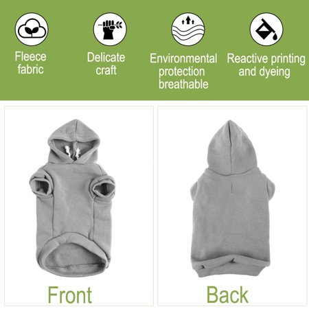 Cotton Dog Winter/Spring/Fall Sweatshirt Hoody Pet Clothes Warm Coat Grey XS - image 2 of 7
