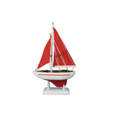 Model Sailboat - Pacific Sailer Red - Red Sails 9