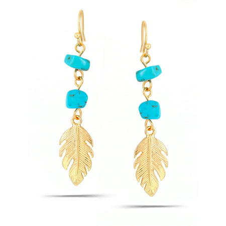 WOMEN'S GOLD FEATHER TURQUOISE DROP - Turquoise Starfish Earrings