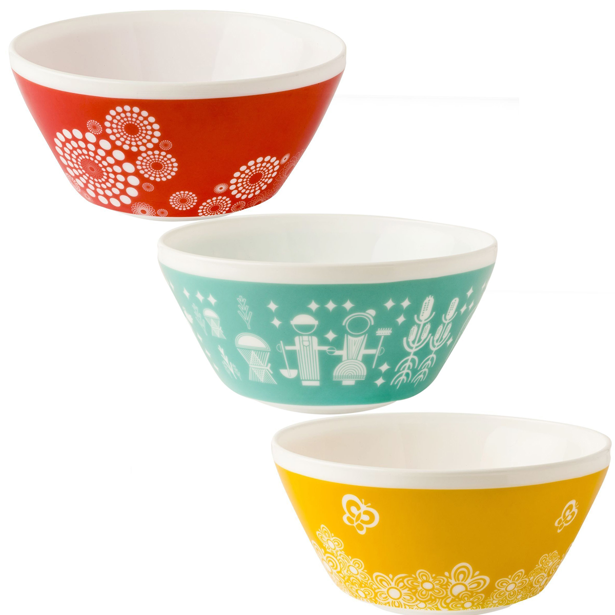 World Kitchen (Set of 3) White Glass Mixing or Serving Bowls Vintage ...