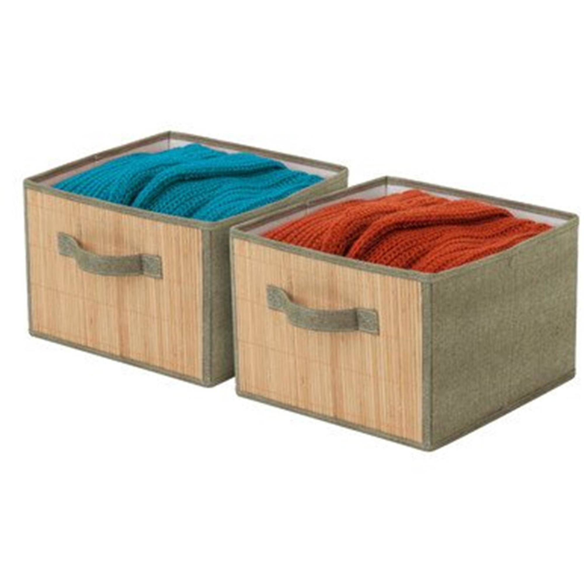 Honey Can Do Bamboo And Canvas Storage Drawers, Brown/Moss (Pack Of 2
