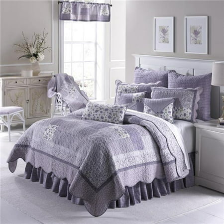 American Heritage Textiles Z82046 91 x 91 in. Lavender Rose 3 Piece Cotton Quilt Set, Multi Color - Queen Size ()