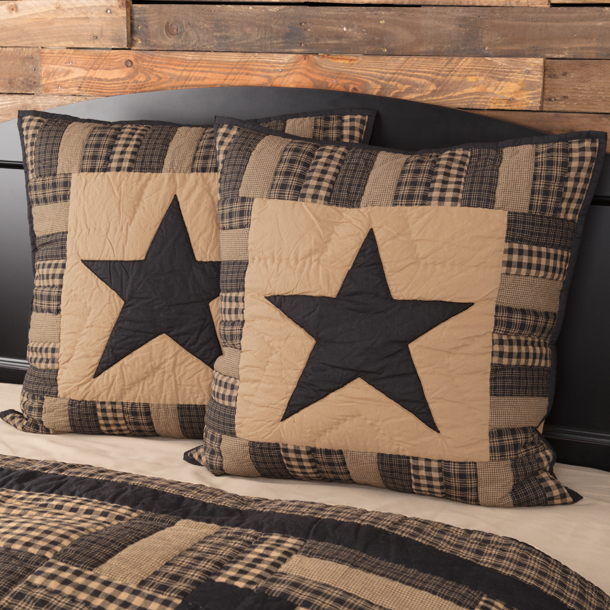 Raven Black Primitive Bedding Black Check Star Cotton Hand Quilted Appliqued Star Euro Sham