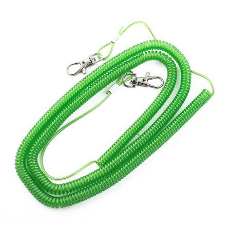 Lanyard  Spring Belt Metal Clip Hook Tackle Tool Fishing Rope Green 8M