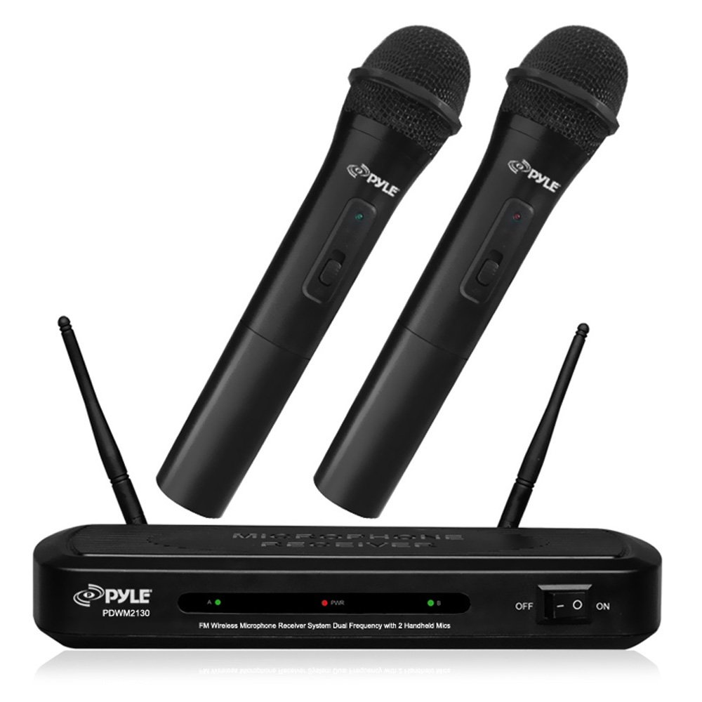 Pyle Fm Wireless Microphone Receiver System Dual Frequency With 2 Handheld Mics - 109 Mhz To 113 Mhz System Frequency (pdwm2130)