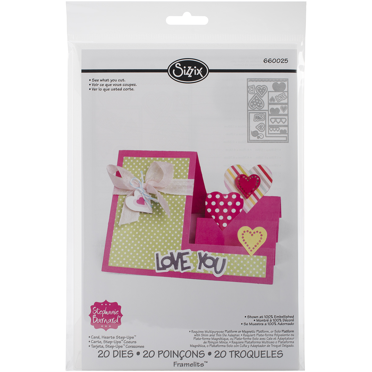 Sizzix Hearts Step-Up Card Framelits Dies by Stephanie Barnard, 20-Pack Multi-Colored