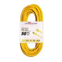 12/3 50ft SJTW 15 Amp 125 Volt 1875 Watt 3 Prong Lighted End Indoor/Outdoor Heavy Duty Extension Cord (50 Feet)