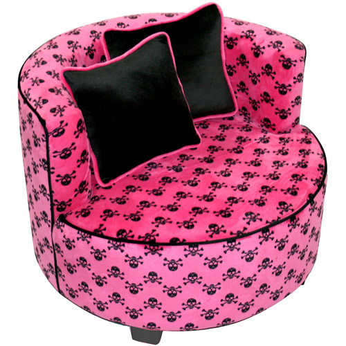 Harmony Kids Magical Redondo Minky Chair in Hot Pink Skull