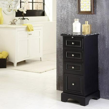 Home styles bedford bath cabinet black for Black bathroom storage cabinets