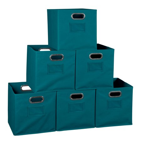 Collapsible Home Storage Set of 6 Foldable Fabric Storage Bins- Teal