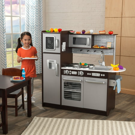 KidKraft Uptown Espresso Kitchen with 30 Piece Play Food