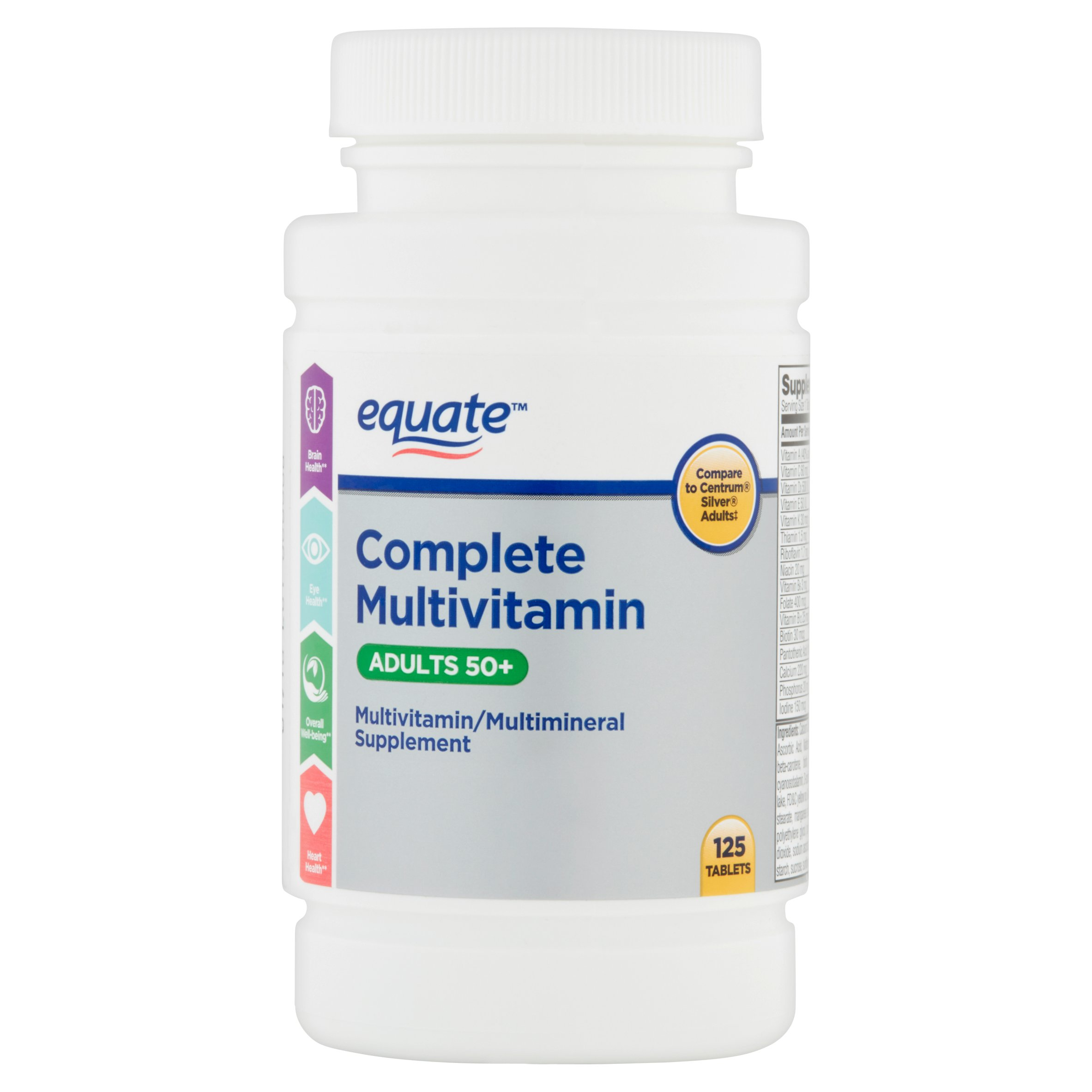 Equate Adults 50+ Complete Multivitamin Tablets, 125 Ct