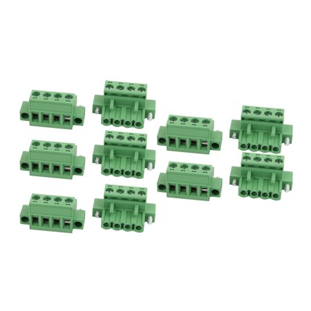10Pcs  300V 15A 5.08mm Pitch 4P Terminal Block Wire Connector for PCB - Mount Terminal Block