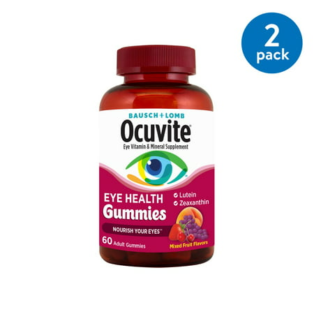 (2 Pack) Bausch + Lomb Ocuvite Eye Vitamin & Mineral Supplement Eye Health Gummies - 60