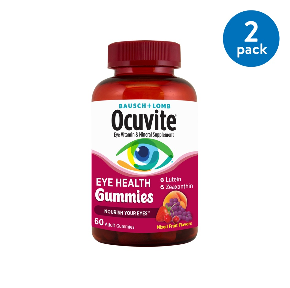 (2 Pack) Bausch + Lomb Ocuvite Eye Vitamin & Mineral Supplement Eye Health Gummies - 60 CT