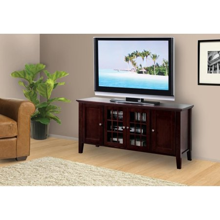 54 Dark Cherry Wood Entertainment Center Tv Console Stand With Gl Cabinet Doors Storage