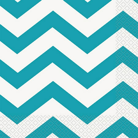 Chevron Paper Lunch Napkins, Teal, 16ct