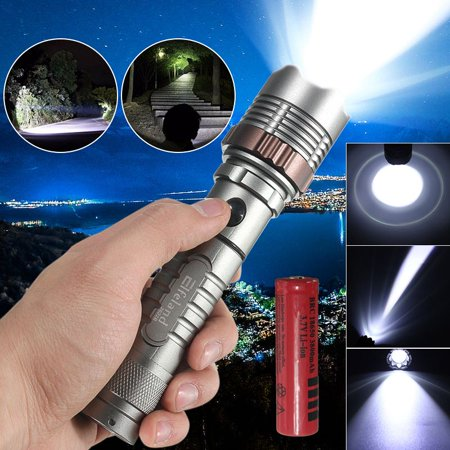 Super Bright Torch - 2600 Lumens T6 LED Zoomable Focus Flashlight Torch Lamp Super Bright + 18650 Rechargeable Battery for Camping Hiking Cycling