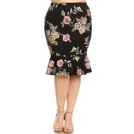 Plus Size Women's Trendy Style Knee Length Ruffle Hem Print
