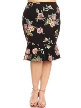 2bc98630d7900 Product Image Plus Size Women s Trendy Style Knee Length Ruffle Hem Print  Skirt