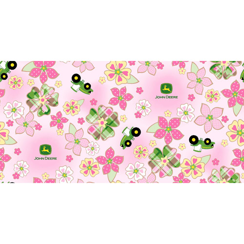 Springs Creative John Deere Plaid Floral Toss Fleece Fabric