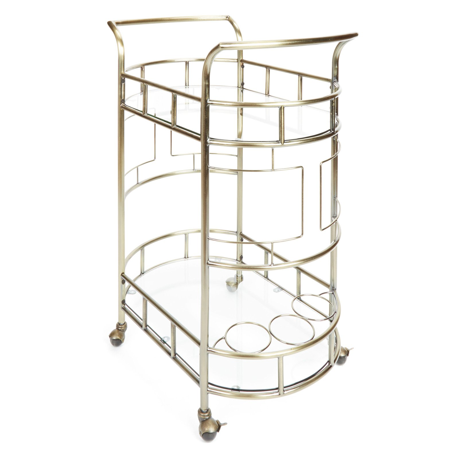 Sinclair 2-Tier Serving Cart in Antique Gold