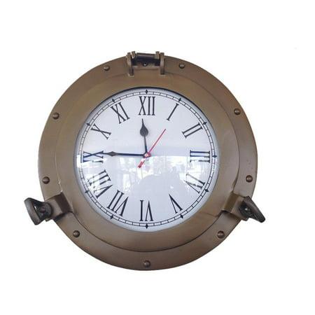 Ship Porthole (Antique Brass Decorative Ship Porthole Clock 12