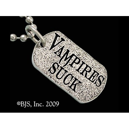 RBI Necklace Vampires Suck Dog Tags of Medieval Supernatural Allegiance Made of Sterling Silver ()