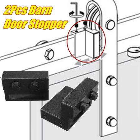 1 Pair Sliding Barn Door Wheel Brake Hardware Rail Track Door Stopper  Metal ()