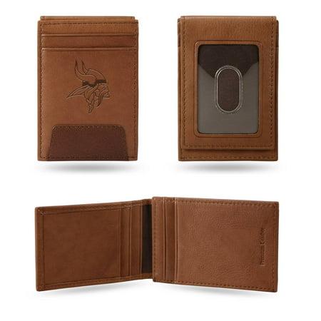 Minnesota Vikings NFL Embossed Premium Brown Leather Front Pocket Money Clip Wallet Minnesota Vikings Clip Holder