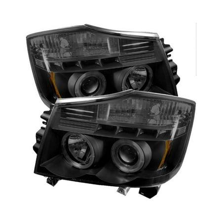 Spyder Nissan Titan 04-15 / Nissan Armada 04-07 Projector Headlights - LED Halo - LED ( Replaceable LEDs ) - Black Smoke - High H1 (Included) - Low 9 2012 Nissan Titan Led