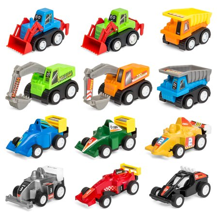Best Choice Products Set of 12 Assorted Pull-Back Toy Cars w/ Construction Trucks, Race - Construction Set Toys