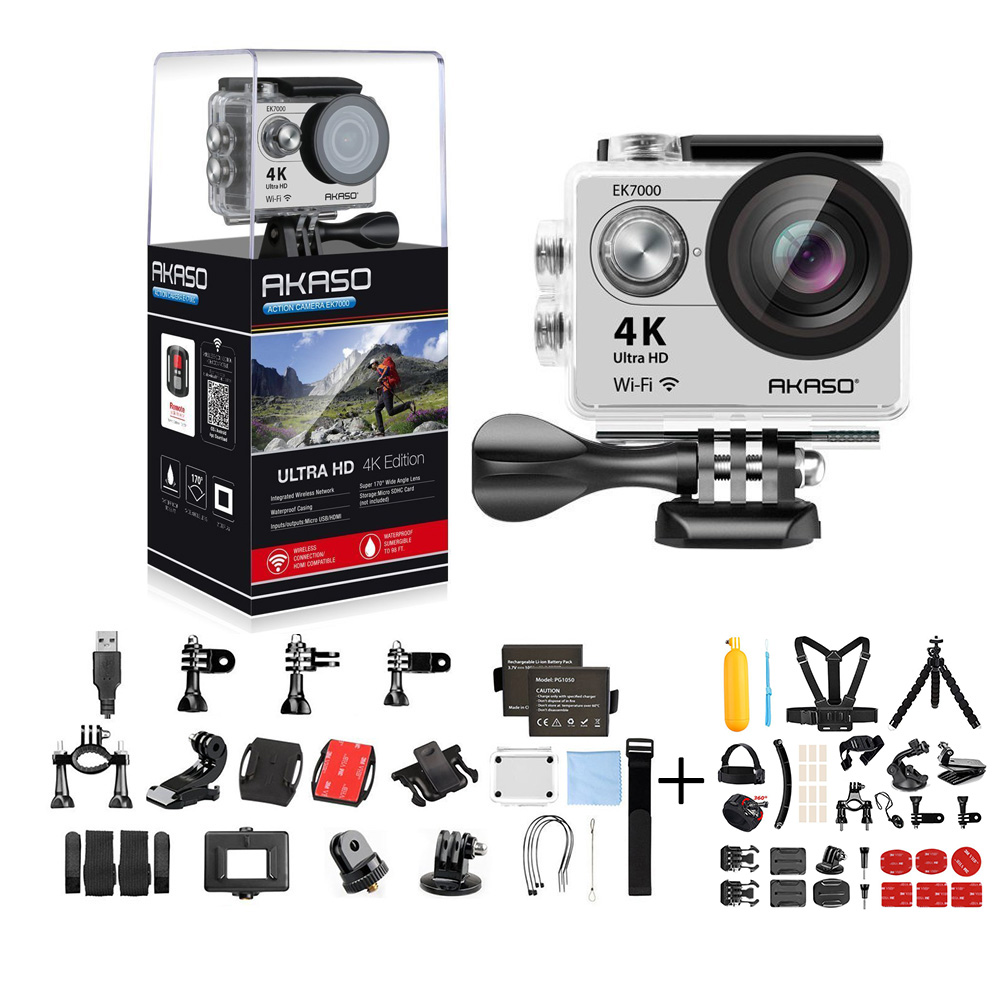 AKASO EK7000 Ultra HD 4K WIFI 170 Degree Wide Waterproof Sports Action DV Camcorder Silver (EK7000) with 14 in 1 Camera Accessories & 1 Year Extended Warranty