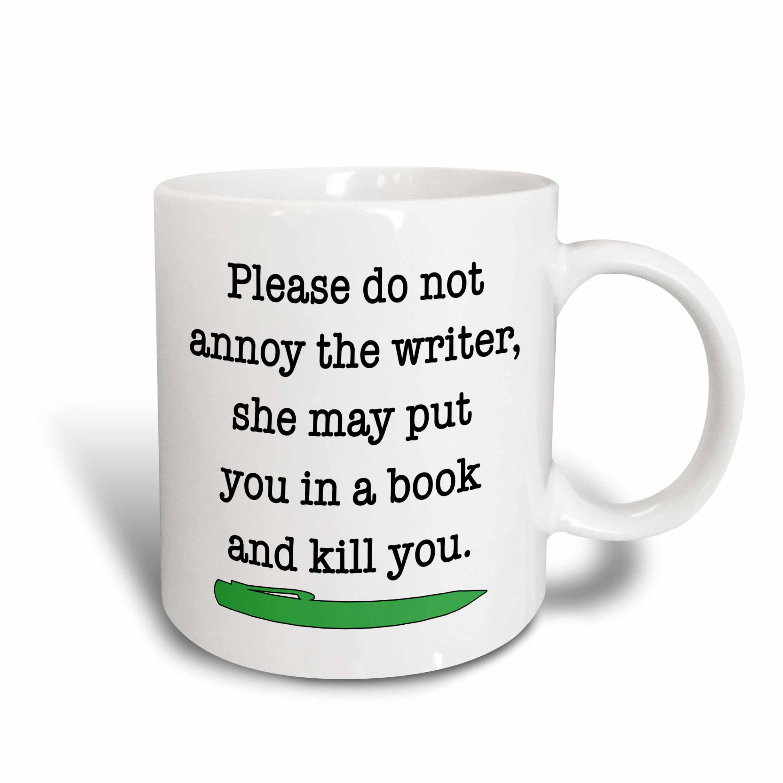 3drose Please Do Not Annoy The Writer Green Ceramic Mug