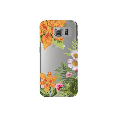 Daisy Orange Exotic Flower Fern Leaves Floral Pattern Stylish Design Clear Phone Case - For Samsung Galaxy S6 Edge Bac
