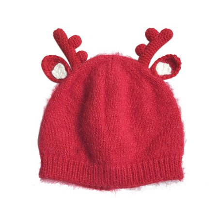 Santa Hat With Antlers (Kids Knit Wool Hat Cap Santa Elk Deer Horn Antlers Warm Cute Baby)