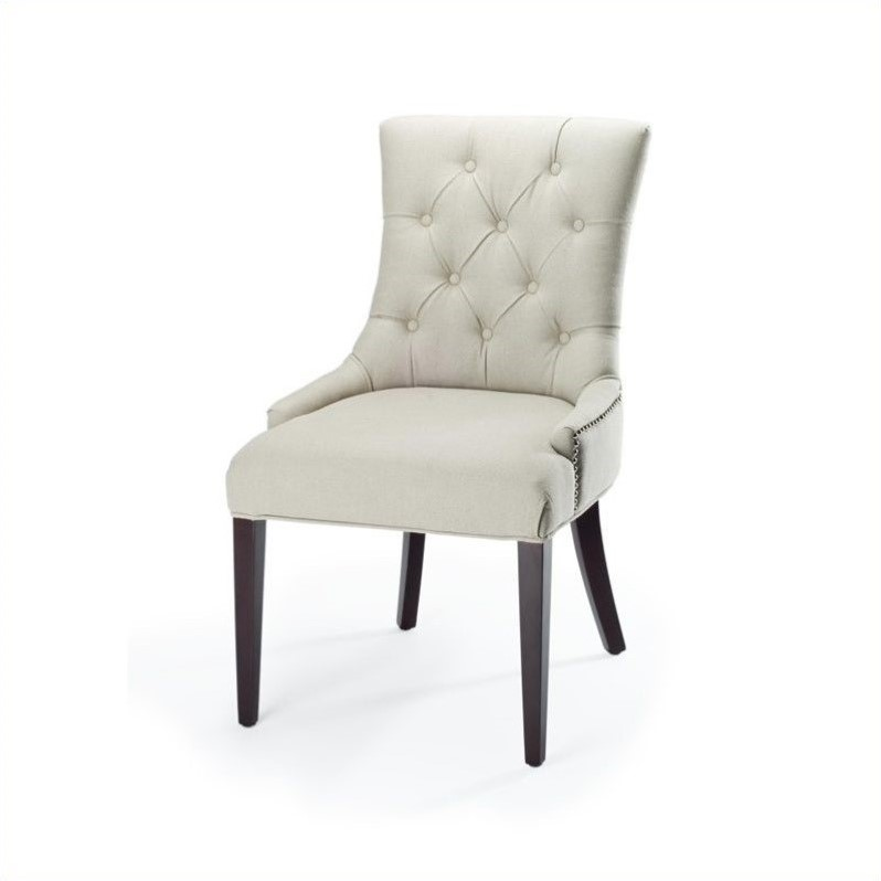 Safavieh Amanda Linen Tufted Dining Chair with Nail Heads by Safavieh