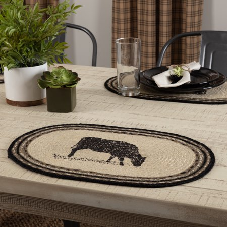 Bleached Jute - Bleached White Farmhouse Tabletop Kitchen Miller Farm Charcoal Cow Jute Stenciled Nature Print Oval Placemat Set of 6