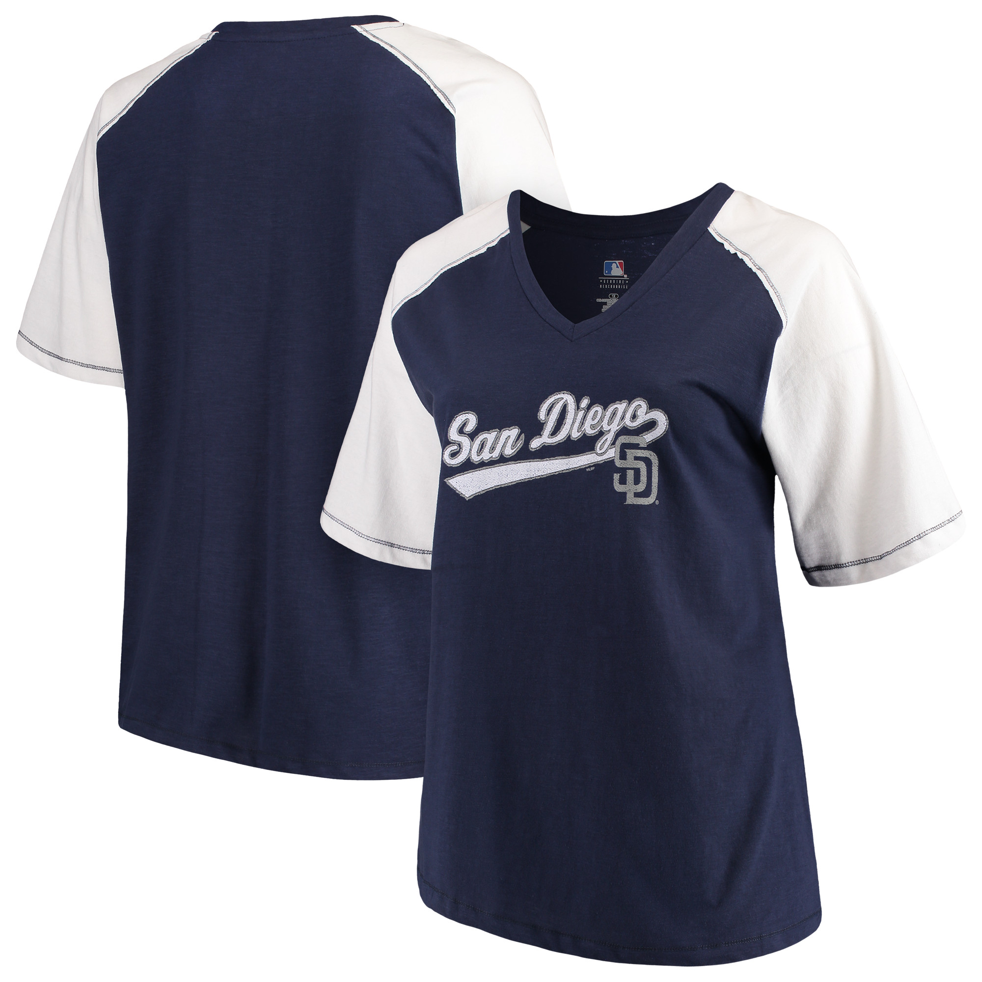 Women's Majestic Navy/White San Diego Padres Plus Size High Percentage Raglan V-Neck T-Shirt