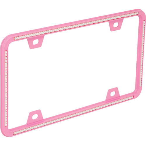 Bell License Plate Frame, Pink Pearls