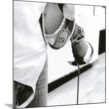 Person Holding a Fencing Sword Wood Mounted Print Wall - A Fencing Sword