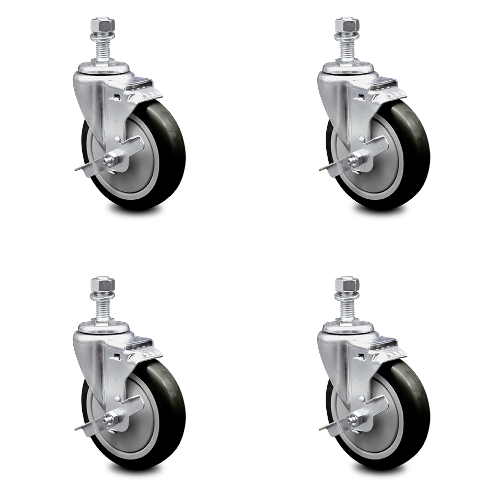 1200 lbs Total Capacity Includes 4 with Top Lock Brakes Polyurethane Swivel Threaded Stem Caster Set of 4 w//4 x 1.25 Gray Wheels and 1//2 Stems Service Caster Brand