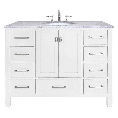 stufurhome 48 in malibu pure white single sink bathroom vanity